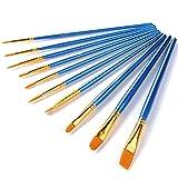Feelily 10 Assorted Wasserfarben Wasserpinsel Aquarellfarben Pinsel Set Haarbürsten Art Nylon Künstler Malerei Pinsel Set, Blauer Griff