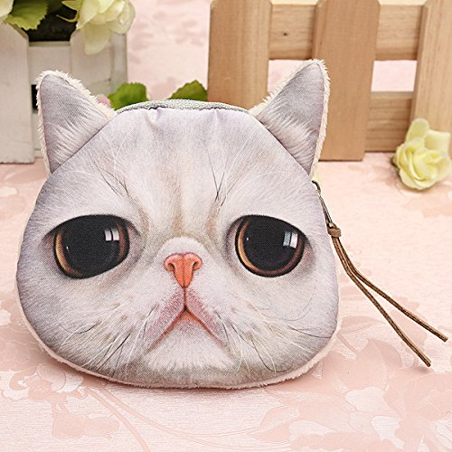 Generic Cat Head Coin Bag Lady Purse Child Coins Phone Pouch