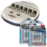 ANSMANN Energy 16 Plus Akku Ladegerät - Ladestation für AAA, AA, C, D, 9V E-Block & USB - Schnellladegerät als Pflegestation & Kapazitätstester mit Refresh Funktion - inkl. 8x Micro AAA NiMH Akkus
