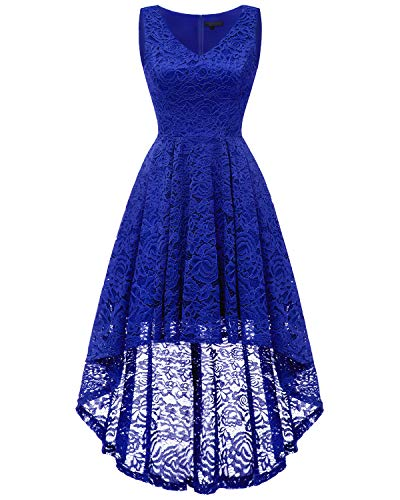 bridesmay Damen Hi-Lo Spitzenkleid Ärmellos Unregelmässig Vokuhila Kleid Cocktailkleid Brautjungfernkleider Royalblue L