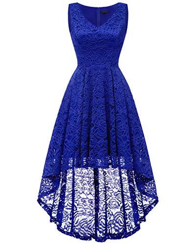 bridesmay Damen Hi-Lo Spitzenkleid Ärmellos Unregelmässig Vokuhila Kleid Cocktailkleid Brautjungfernkleider Royalblue (Pin Up Mädchen Kostüm)