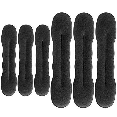 Hotop 6 Piezas Anillo de Donut de Pelo Clip de Esponja de Soporte de Pelo Actualizado Moño de Peinado Herramientas de Donut Rizador de Torcedura de pelo, 3 Grandes y 3 Pequeos (Negro)