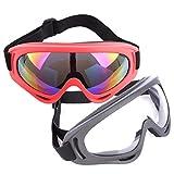 Lommer Schutzbrillen für Nerf, 2 Stück Paar Schutzbrillen Zum Schutz der Augen Schutzbrille Goggles Gläser Glasses für Nerf, CS, Paintball Spiele (Grau, Rot)