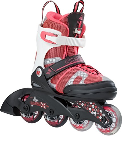 K2 Mädchen Inline Skates Charm x Pro - Rot-Weiß - M (32-37 EU; 13-4 UK; 1-5 US) - 30B0208.1.1.M (Skate Inline Für Mädchen)