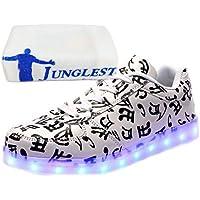 (Presente:peque?a toalla)Negro EU 39, Up Colores Sneakers LED moda Deporte Carga Zapatos JUNGLEST? Luminosos Flashing de Mujeres Luz Deportivos Glow Unisex la US