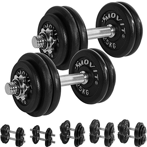 MOVIT® Gusseisen Kurzhantel 2er Set, Varianten 20kg, 30kg, 40kg, 50kg, 60kg, gerändelt mit Sternverschlüssen - 3