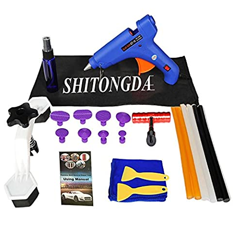 Shitongda 23Pcs Car Panel Body Paintless Repair Bridge PDR Dent Puller Hail Damage Removal Tools