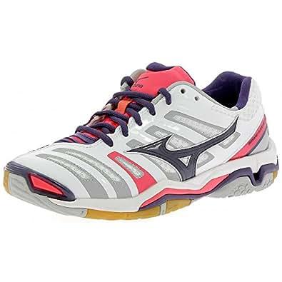 Chaussures Mizuno Wave Stealth 4 blanc/violet/rose - Blanc / Violet/ Rose - 37 EU