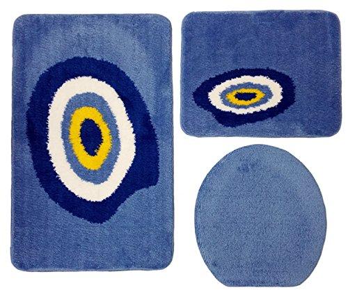 Badgarnitur 3-teilig blau weiß, Motiv Nazar schützendes Auge, Badteppich mit WC-Vorleger für Hänge-WC, 80 x 50cm (große Matte), 50x40cm (kleine Matte)