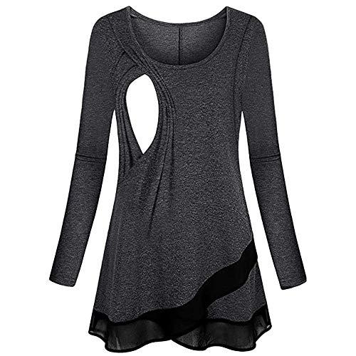 Mutterschaft Mode Umstandshirt Asymmetrisch Stillzeit T-Shirt Langarm