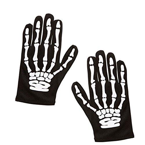 Knochen Hände Gerippe Kinder Skelett Handschuhe schwarz-weiß Zombie Skeletthände Halloween Skeletthandschuhe Kostüm Zubehör Grim Reaper Knochenhandschuhe - Weiß Schwarz Halloween-handschuhe Und