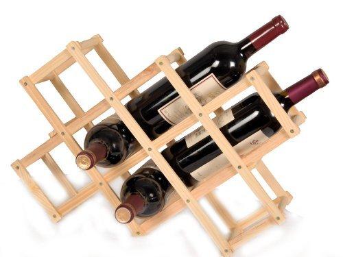 Cantinetta / scaffale per vino, legno di pino massiccio chiaro, ampilabile e impilabile ideale per Cantina, Cucina, Tavernetta e in Qualsiasi Ristorante