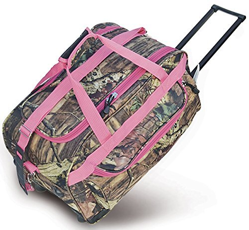 Explorer Mossy Oak with Pink Trim -Realtree Like- Hunting Camo 22 Inch Heavy Duty Rolling Duffel Bag with Pulling Handle 2 Wheels with Adjustable Removable Shoulder Strap by Explorer