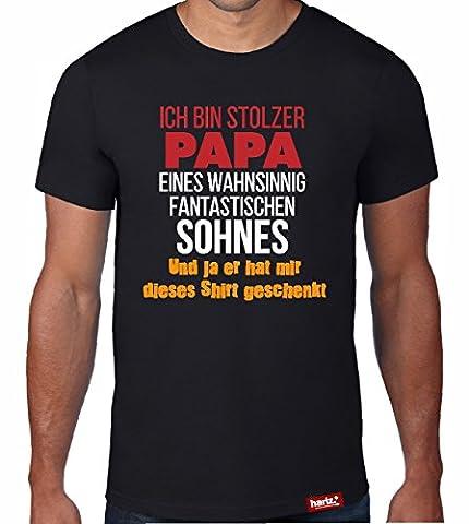 #PAPA: Original HARIZ® Collection T-Shirt // 36 Designs wählbar // Schwarz, S-XXL // Inkl. Urkunde, Top Geschenk #Papa33: Stolzer Papa eines Sohnes XL