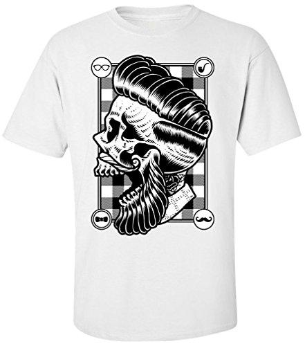 PAPAYANA - HIPSTER-SKULL - Herren T-Shirt - SWAG HIPSTER FACE BEART BARBER DOPE Weiß