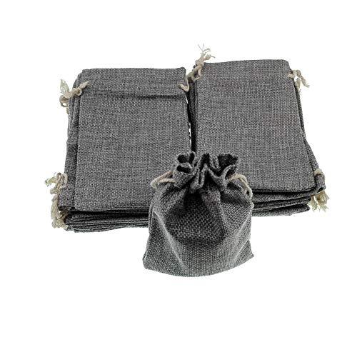 tesäckchen mit Kordelzug - 10x14cm Natur Säckchen Jutebeutel Jute Sack Geschenksäckchen für Adventskalender Schmuck Hochzeit Party Weihnachten und DIY Handwerk Verpackung (Hellgrau) ()