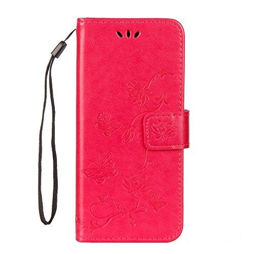 Carols Coque Samsung Galaxy A6 2018, Gaufrage PU Etui TPU Bumper Case,Cuir PU Housse Protection Antichoc Coquille Coque pour Samsung Galaxy A6 2018 - Rose Rouge
