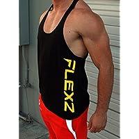 Flexz T espalda tirantes para hombre | camiseta de tirantes, Stringer, Mens chaleco Bodybuilding, yback espalda cruzada Dbz, negro/amarillo, extra-large