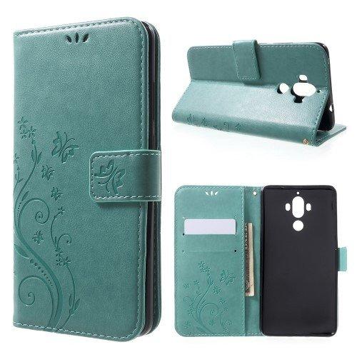 jbTec® Flip Case Handy-Hülle zu Huawei Mate 9 / MHA-L09 - Book Muster Schmetterlinge S16 - Handy-Tasche Schutz-Hülle Cover Handyhülle Ständer Bookstyle Booklet, Farbe:Mint-Grün