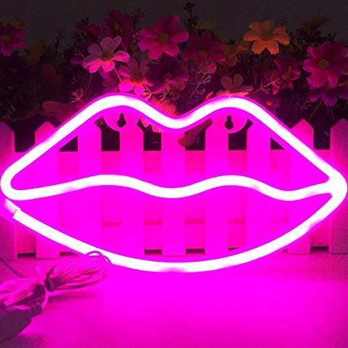 XIYUNTE Lip Pink Leuchtreklamen - LED Neon leuchten Zeichen Wandleuchten Batterie und USB betrieben Neonröhren Room Decor für Schlafzimmer, Wohnzimmer, Hochzeit, Weihnachtsgeschenk
