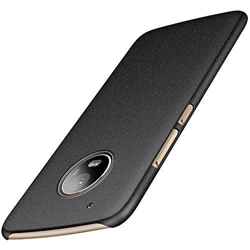 anccer Motorola Moto G5 Plus Hülle, [Serie Matte] Elastische Schockabsorption und Ultra Thin Design für Moto G5 Plus (Nicht für Moto G5S Plus)-Kies Schwarz