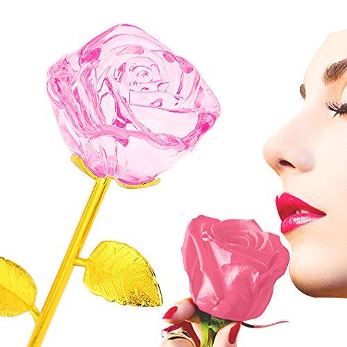 ZJchao 24K Vergoldet Crystal Rose Romantisch Rosen Geschenk 28 x 7cm (rosa)