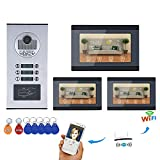 LLY Video Intercom 7inch WiFi Record Waterproof System RFID IR-Cut HD 1000TVL Doorbell Kamera mit 6 Taste 3 Monitor für Apartment/Familie