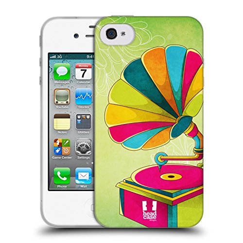 Head Case Designs Telefono Jazzy Vintage Cover Morbida In Gel Per Apple iPhone 7 / iPhone 8 Grammofono