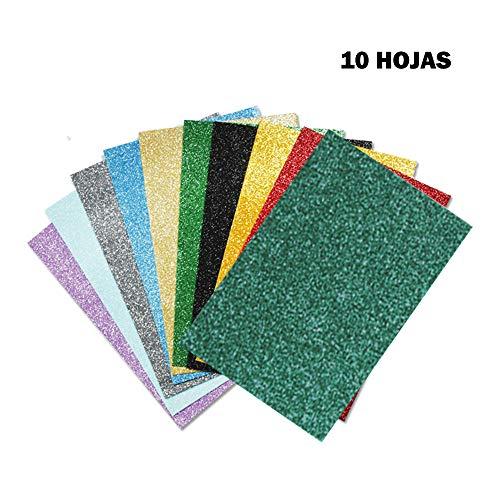 Starplast, Pack de 10 Papel Goma Eva, Papel Foamy, Con Purpurina, Estampado Liso, A4, 20 cm x 30 cm, para Decorar y Manualidades, colores varios