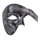 Uomo Fantasma di Il musica lirica mascherata Maschere Metà Viso Annata Romano Veneziano Maschere (Antique Argento Nero)