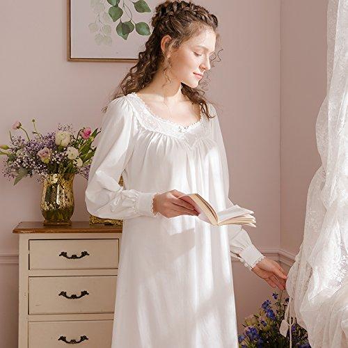 JINSHENG Staub Frühling Herbst Gericht Wind Locker Reine Farbe aus Baumwolle Lange ärmel Schlafanzüge nachtwäsche Langen Kleid Familie Kleid,160 (m),Weiße