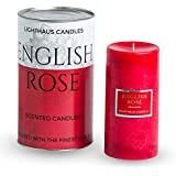 "Lighthaus Candles Pillar Scented Candle In English Rose 3""X6"" 