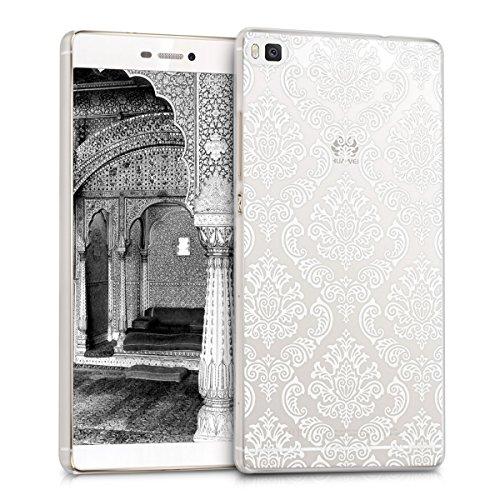 kwmobile Crystal Case Hülle für Huawei P8 mit Barock Design - transparente Schutzhülle Cover klar in Weiß Transparent