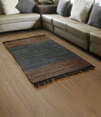 Store indya, tappeto in moquette per pavimenti tappetino in cotone intrecciato con motivi a strisce per living den room entry way (marrone)