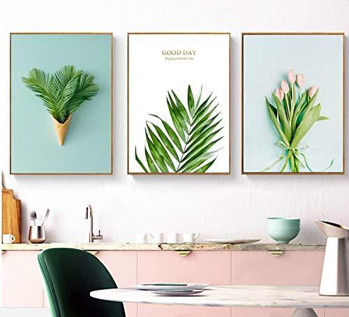 Ice Cream Tulip (MULMF Exquisit Leinwandbilder von Ice Cream Green Leaf Pink Tulip Flowers für Ihr Wohnzimmer-Modern Split-Set von 3 Leinwand-No Frame)