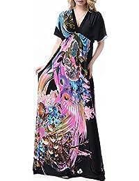 Wantdo Femme Robe de Plage Imprimée Bohème Col en V Taille Haute Grande Taille