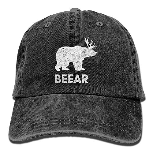 Vintage Fitted Cap (Zhgrong Caps Beer Bear Deer Funny Vintage Washed Dyed Cotton Twill Low Profile Adjustable Baseball Cap Black Fitted Kappen)