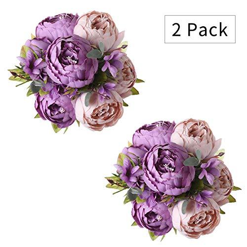 Tifuly 2 mazzi di peonie artificiali, bouquet di fiori vintage di peonie di seta realistiche per la decorazione domestica del partito dell'ufficio di nozze, composizioni floreali (nuovo viola)