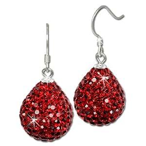 SilberDream scintillement bijoux - boucle d'oreilles goutte rouge en argent 925 avec des tchèques cristaux Preciosa - GSO220R