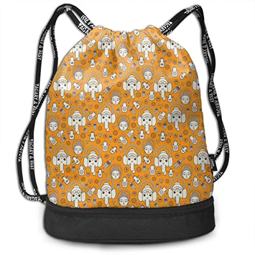 Multipurpose Drawstring Bag for Men & Women, Warm Toned Background With Tribal Asian Culture Elements Spiritual Motifs,Tote Sack Large Storage Sackpack for Gym Travel Hiking