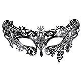 Dreamiracle Masquerade Mascarilla, Estilo Veneciano Metal Filigrana máscara de Ojos con Diamantes de imitación para Bola de máscara, Carnaval de Halloween y Disfraz, Color Negro