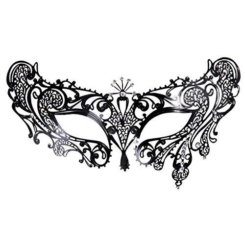 Dreamiracle Damen Maskerade Maske Lasergeschnitten Metall Venezianische Maske mit Strass für Karneval, Halloween und Maskenball, Schwarz