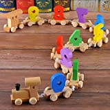NHE Digital Number 0-9 Train Toy Set Wooden Fun Learning Building Blocks Early Educational Kids 3+ Years
