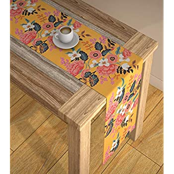 AEROHAVENTM Abstract Multicolour HD Digital Modern 4 Seater Table Runner Cloth - TR01 - (Yellow, 13 x 60 Inch)