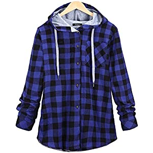 Festiday Gray Hoodies For Women Clearance Sale 2018 New Casual Women's Clothing Women's Long Sleeve Plaid Hooded Cardigan Jacket Blouse