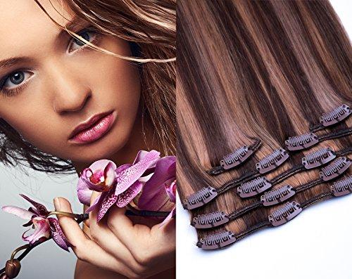 Clip In Extensions Set von GlamXtensions für eine komplette Haarverlängerung 100% Remy glattes Echthaar 7 teilig 80g hochwertigeres Remy Haar 40 cm in der Haarfarbe 800 Gesträhnt 4/27 Schokobraun-Honigblond