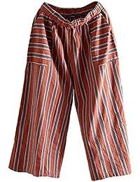 Hosen Damen,Frauen Streifen Bequeme Culottes Hosen Leichte Sommerhose  Elegante Stoffhose Coole Schicke Chino Hose LäSsige Lockere Hose… fb586d8933