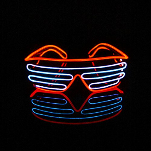 Lerway EL Wire LED Party Brille 2 Bicolor Drahtbrille Spass Partybrillen Bunt Gitterbrille Leuchtstab Brillen mit Batterie Box für Karneval Rave, Nachtclubs Fest, Geschenk (Weiß + ()