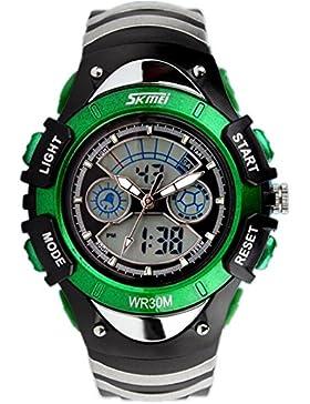 XY Fancy Multifunktionale Kinder Sport Armbanduhr 6 ATM wasserdicht Dual Time Digital Analog Hintergrundbeleuchtung...