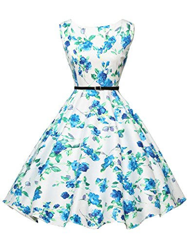 1950s vintage retro rockabilly kleid ballkleider knielang festliches kleid sommerkleid Größe S...